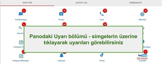 WebWatcher Alert bölümünün ekran görüntüsü