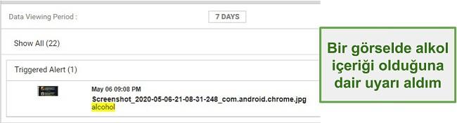 Görüntülerden WebWatcher uyarılarının ekran görüntüsü