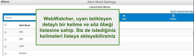 Webwatcher Alert Words'ün ekran görüntüsü