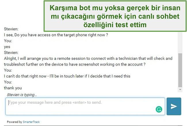 Webwatcher müşteri desteğinin ekran görüntüsü