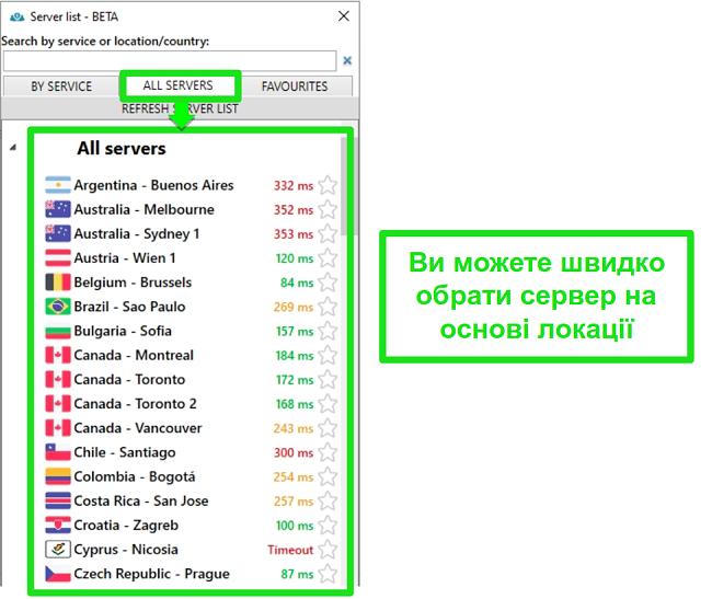 Знімок екрана розташування серверів PrivateVPN у списку