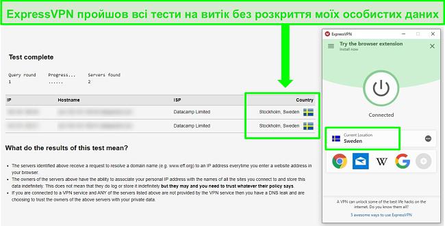 Знімок екрана ExpressVPN, який проходить тест на витоки DNS під час підключення до шведських серверів