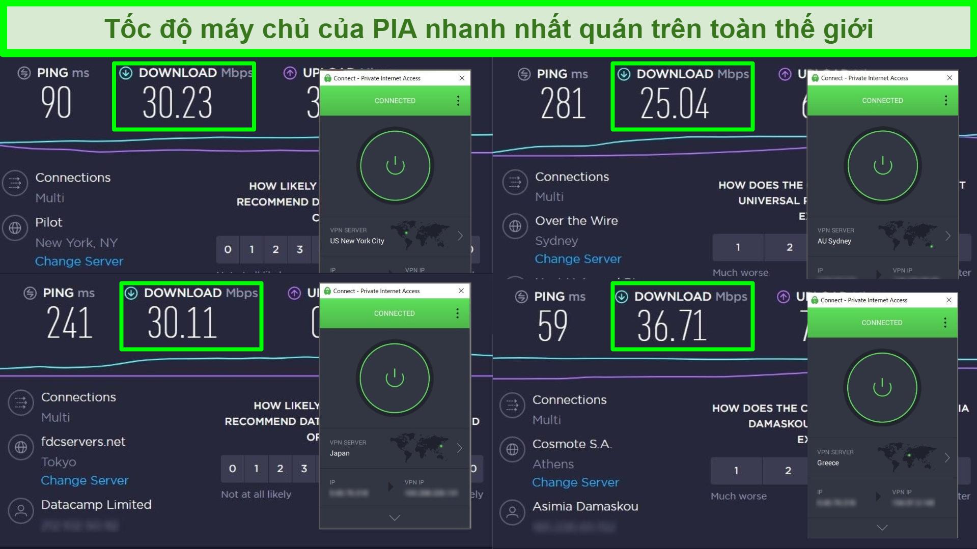 Ảnh chụp màn hình của các bài kiểm tra tốc độ Ookla với PIA được kết nối với các máy chủ toàn cầu khác nhau.