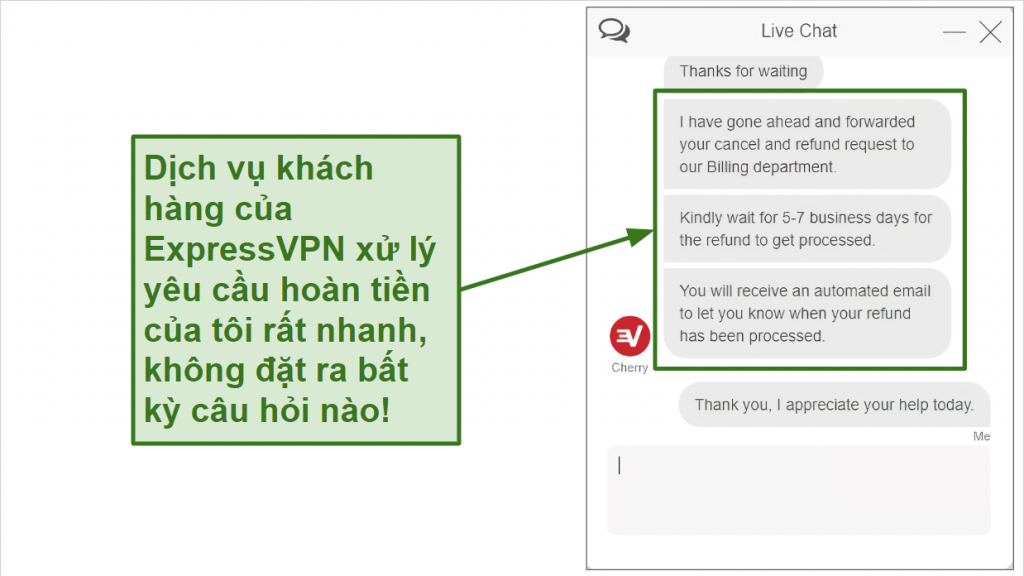Screenshot of ExpressVPN refund request over live chat.
