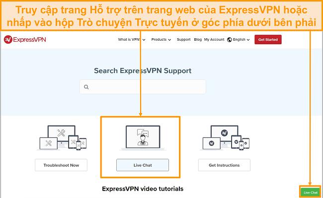 Ảnh chụp màn hình hỗ trợ trò chuyện trực tiếp ExpressVPN.