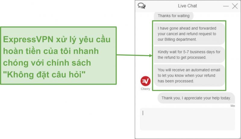 Ảnh chụp màn hình của người dùng yêu cầu hoàn lại tiền từ ExpressVPN qua trò chuyện trực tiếp với bảo đảm hoàn lại tiền trong 30 ngày
