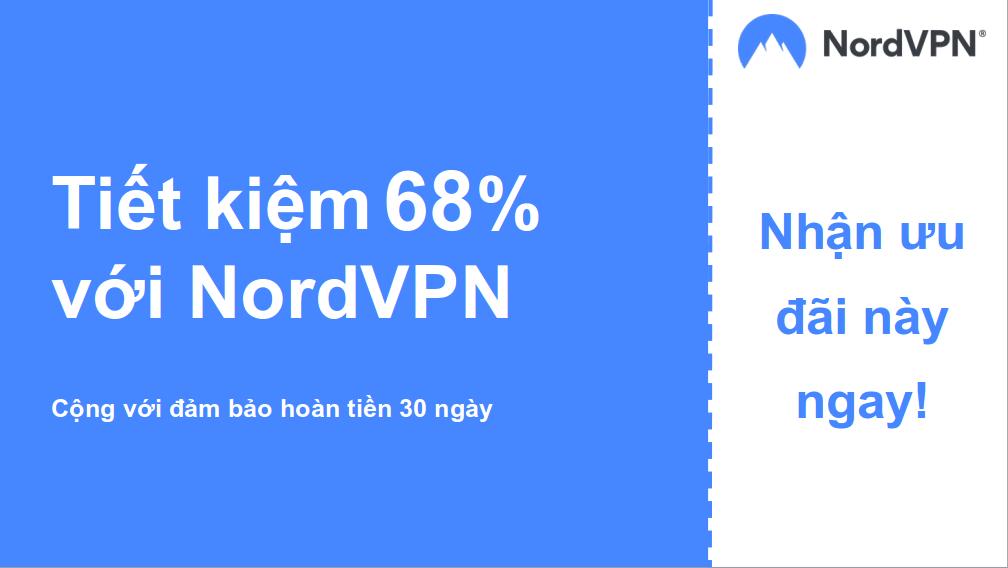 đồ họa của biểu ngữ phiếu giảm giá chính Nordvpn giảm 68%