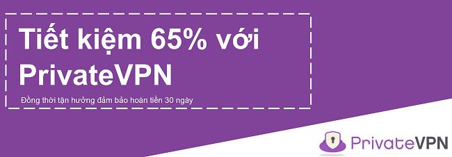 Hình ảnh của một phiếu giảm giá PrivateVPN đang hoạt động cung cấp chiết khấu 65% với đảm bảo hoàn tiền trong 30 ngày