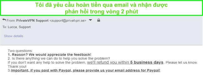 Ảnh chụp màn hình của PrivateVPN nhanh chóng phản hồi yêu cầu hoàn tiền của tôi qua email