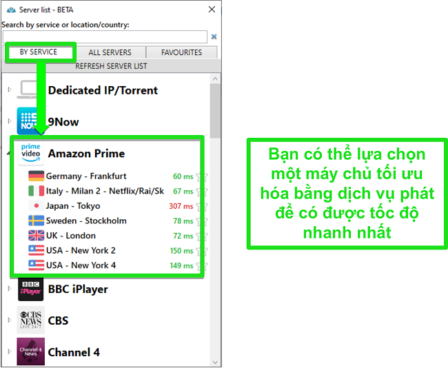 Ảnh chụp màn hình các tùy chọn máy chủ phát trực tuyến cho PrivateVPN