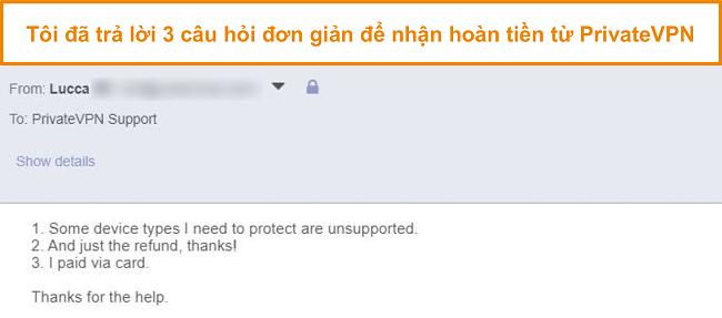 Ảnh chụp màn hình các câu trả lời để yêu cầu hoàn lại tiền PrivateVPN qua email