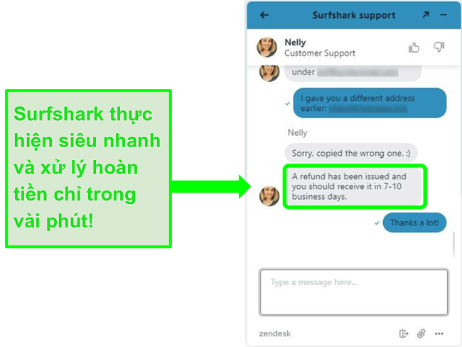 Yêu cầu hoàn lại tiền qua trò chuyện trực tiếp của Surfshark