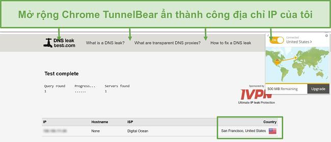 Ảnh chụp màn hình kết quả kiểm tra rò rỉ DNS khi kết nối với TunnelBear.