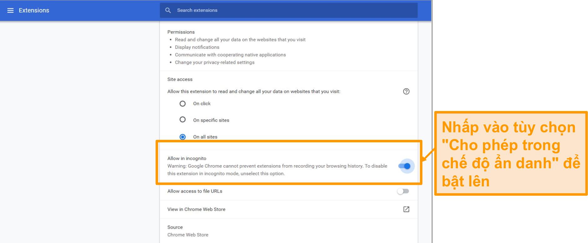 Ảnh chụp màn hình cài đặt tiện ích mở rộng của trình duyệt Google Chrome.