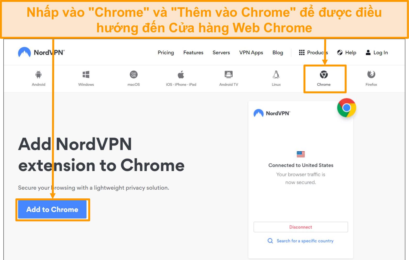 Ảnh chụp màn hình cài đặt trình duyệt NordVPN Chrome.