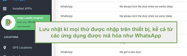 Ảnh chụp màn hình nhật ký từ các ứng dụng được mã hóa như WhatsApp