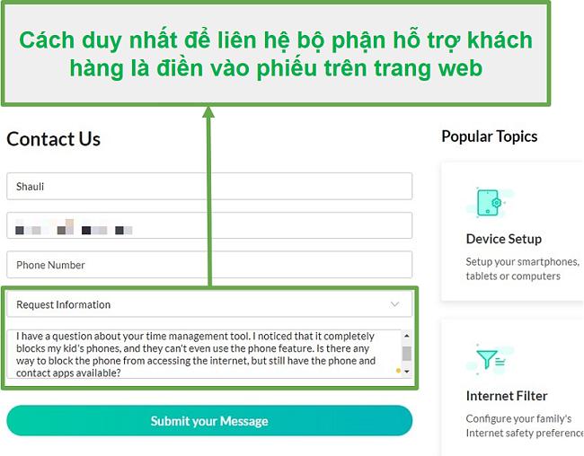 Dịch vụ khách hàng của Mobicip