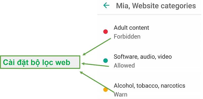 Safe Kids điều chỉnh bộ lọc web