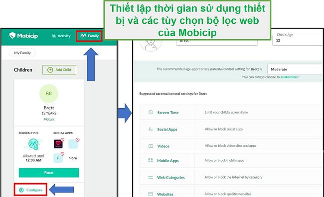 mobicip đã thiết lập bộ lọc web