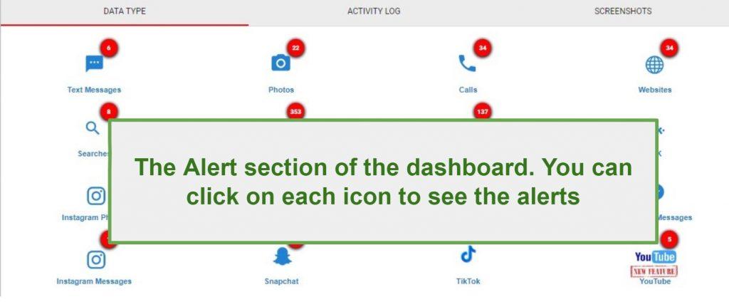 WebWatcher Alert section