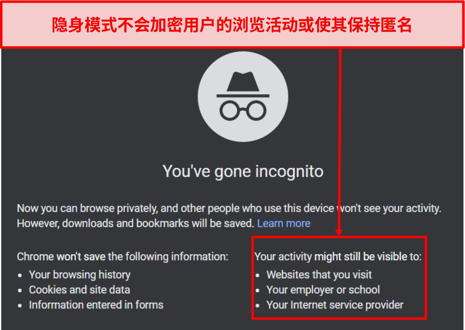 隐身模式通知的屏幕截图。