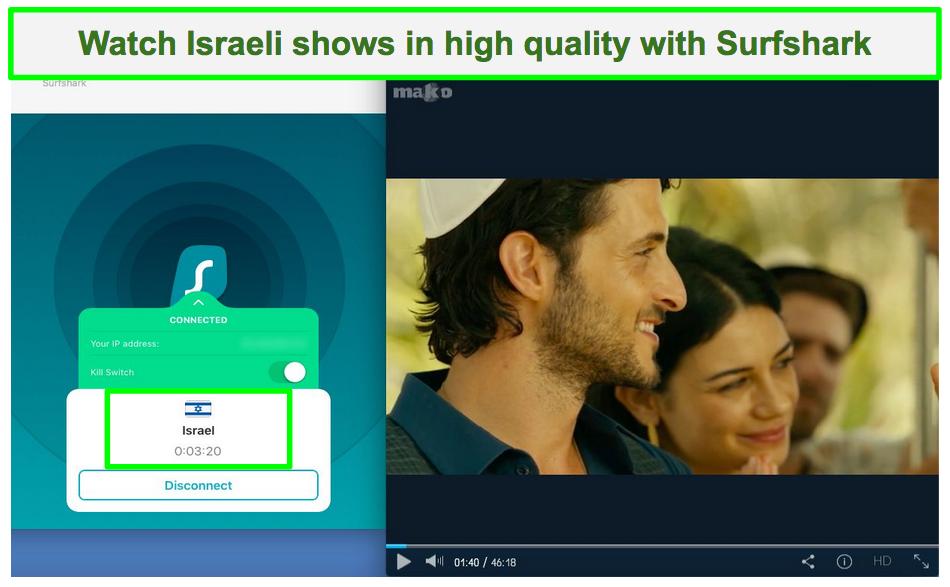 Screenshot of Surfshark unblocking MakoTV to stream For Her Flying Heroes