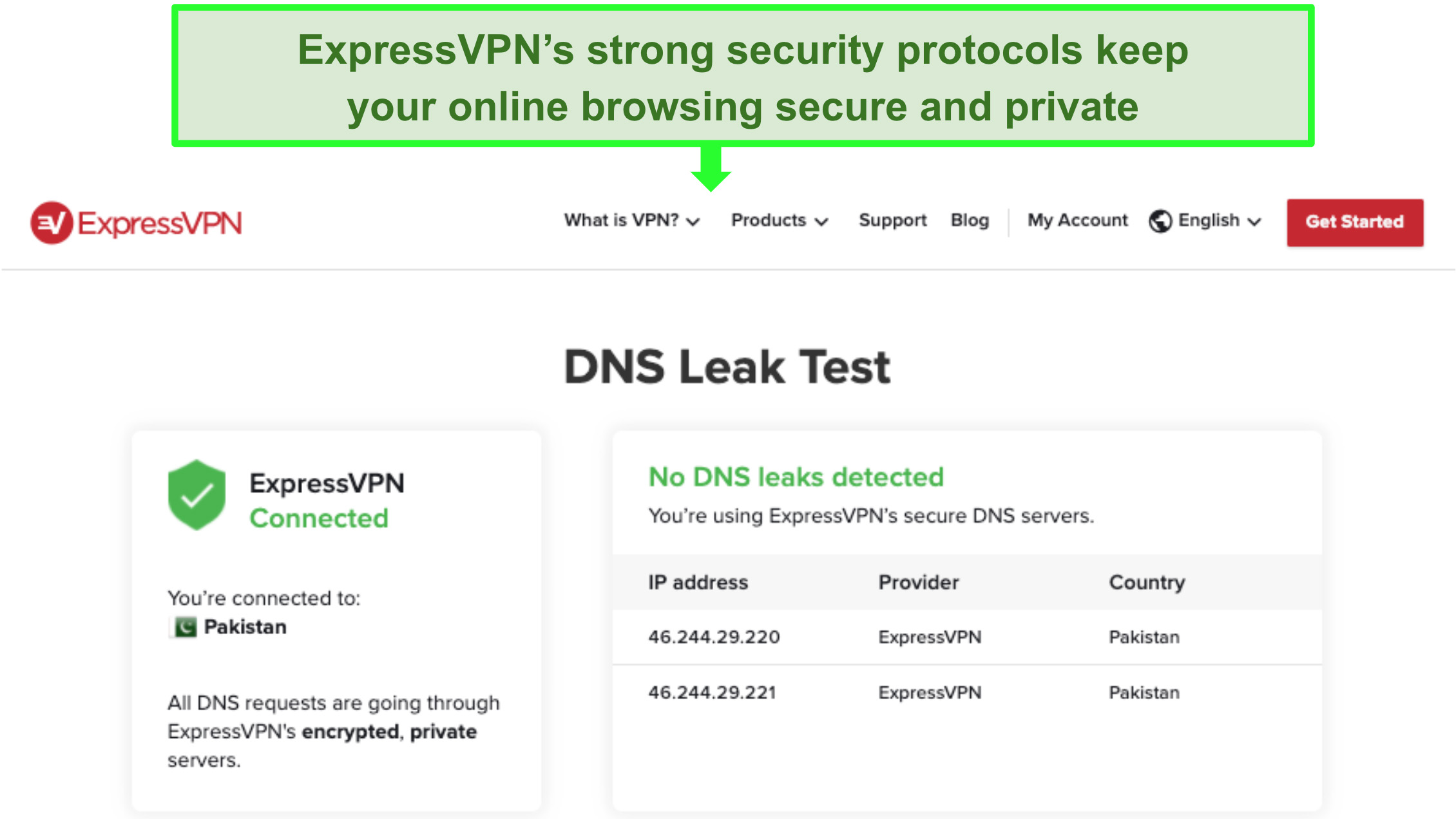 Screenshot of ExpressVPN's DNS Leak Test showing no DNS leaks detected.