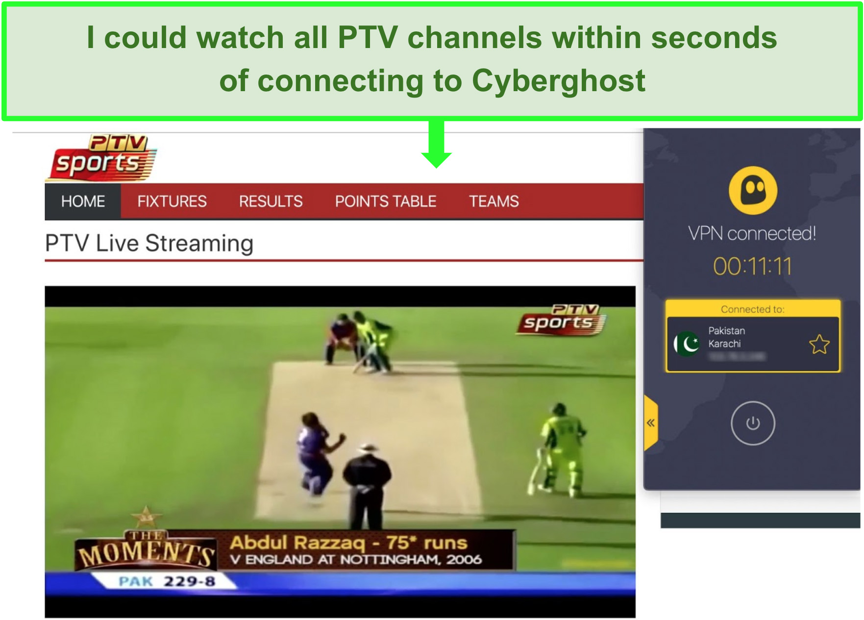 Screenshot of a cricket match playing on PTV Sports with CyberGhost VPN connected.