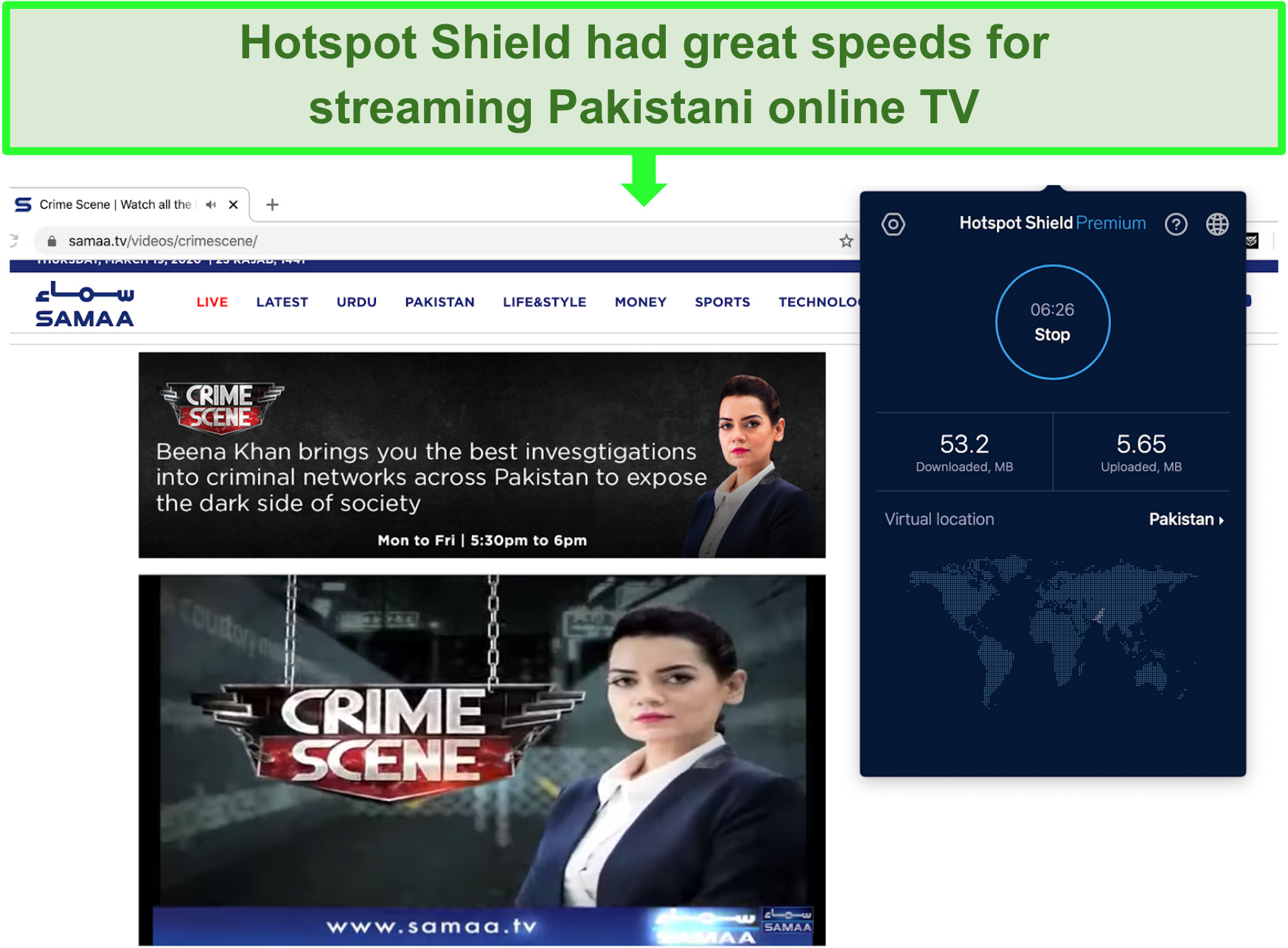 Screenshot of Crime Scene on Samaa TV streaming using Hotspot Shield