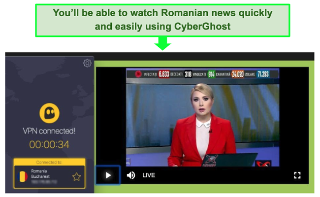 Screenshot of a CyberGhost server streaming Realitatea TV