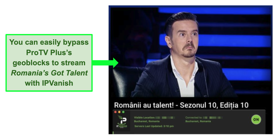 Screenshot of Romania's Got Talent streaming on ProTV Plus with IPVanish connected