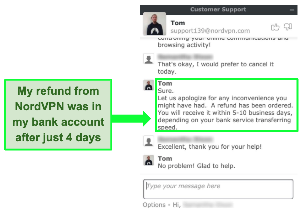 Screenshot of NordVPN customer service offering refund using money-back guarantee