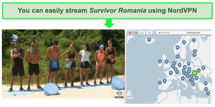 Screenshot of NordVPN streaming Survivor Romania on Kanal D