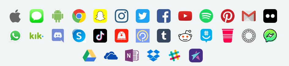 icons of social media it works with