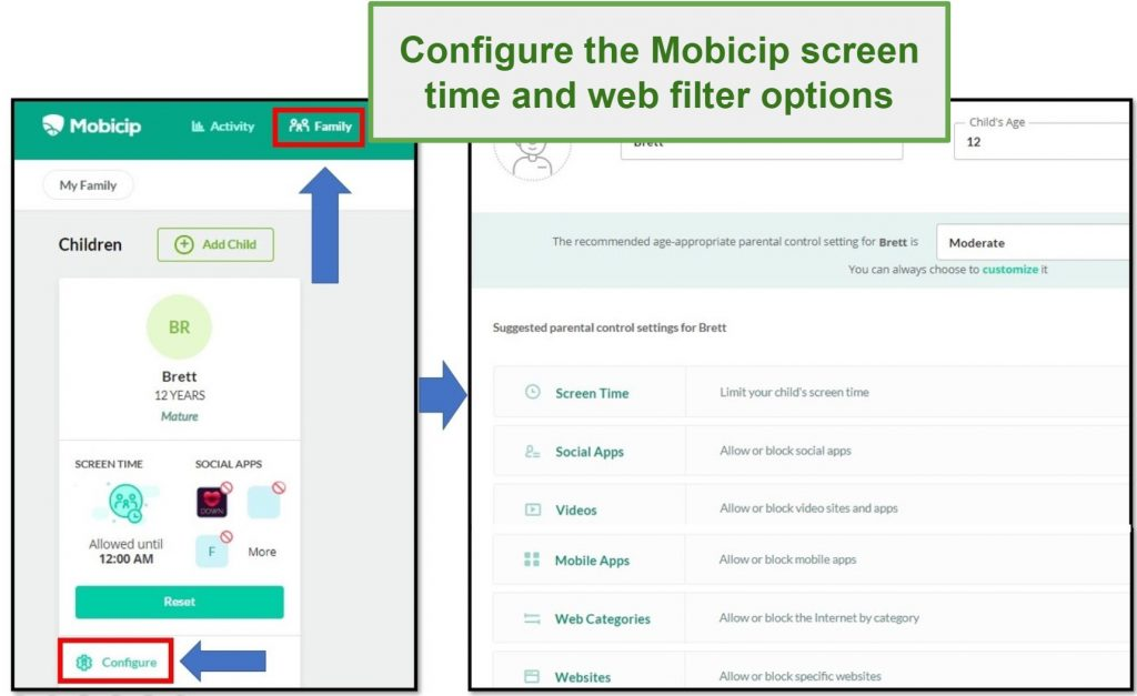Screenshot of Mobicip's user interface showing configuration for Screen Time and web filter options