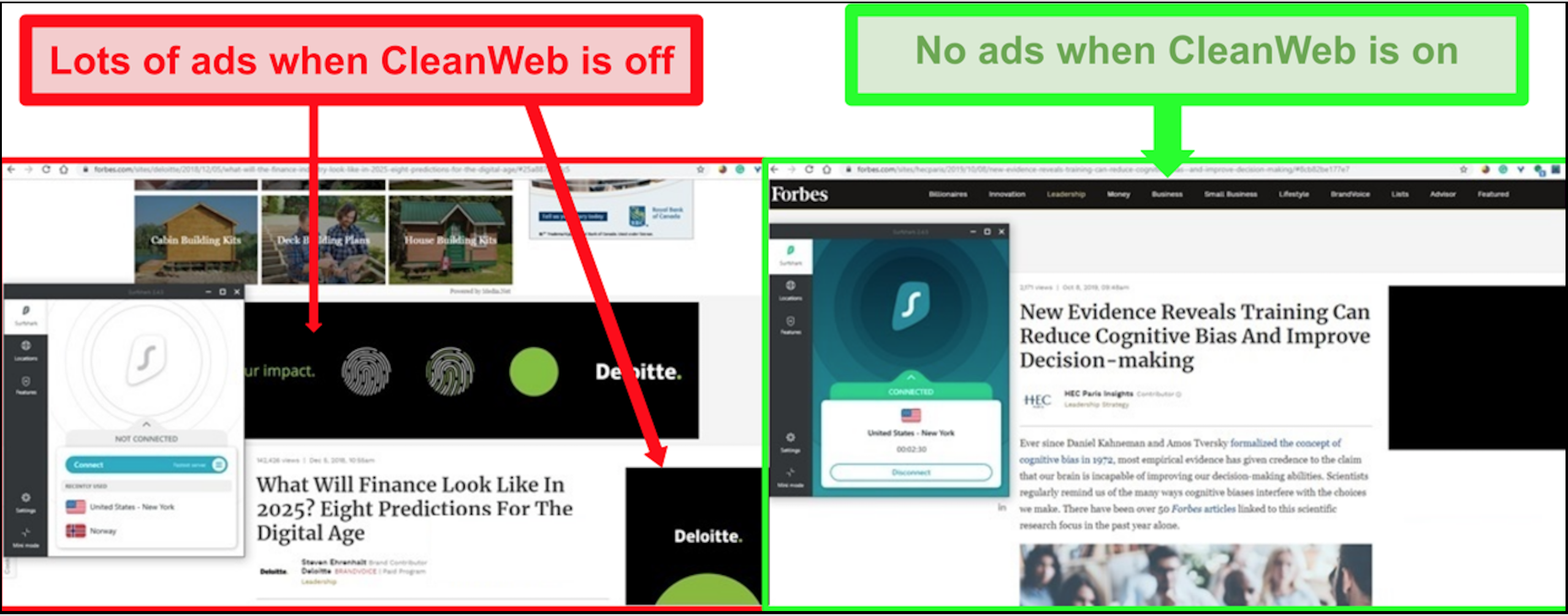 Screenshot of Surfshark's CleanWeb technology blocking out ads, auto-play videos, and pop-ups.