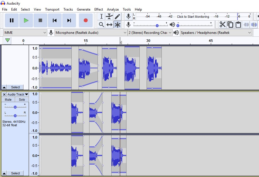 Audacity multitrack kapasitet