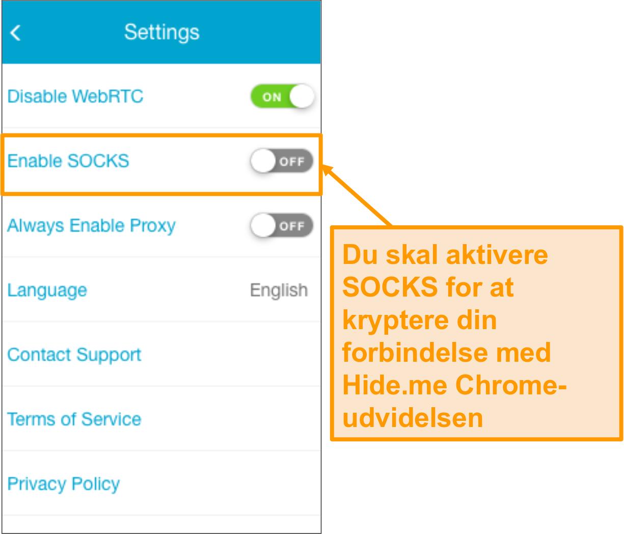 Skærmbillede af indstillingerne for Hide.me browserudvidelse.