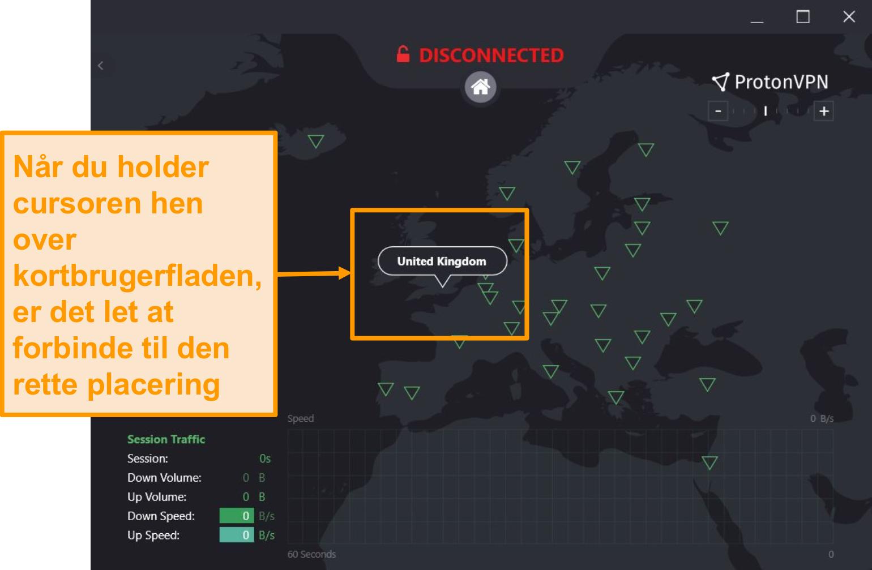 Skærmbillede af ProtonVPNs interaktive serverkort.