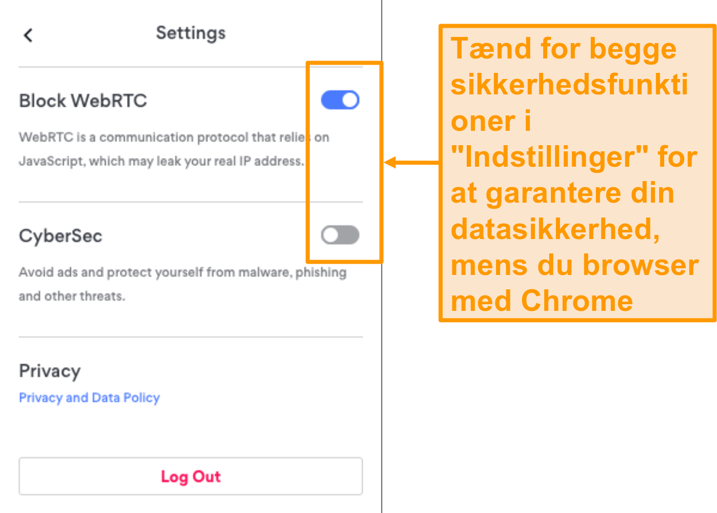 Skærmbillede af NordVPNs sikkerhedsfunktioner i Chrome-browserudvidelse.