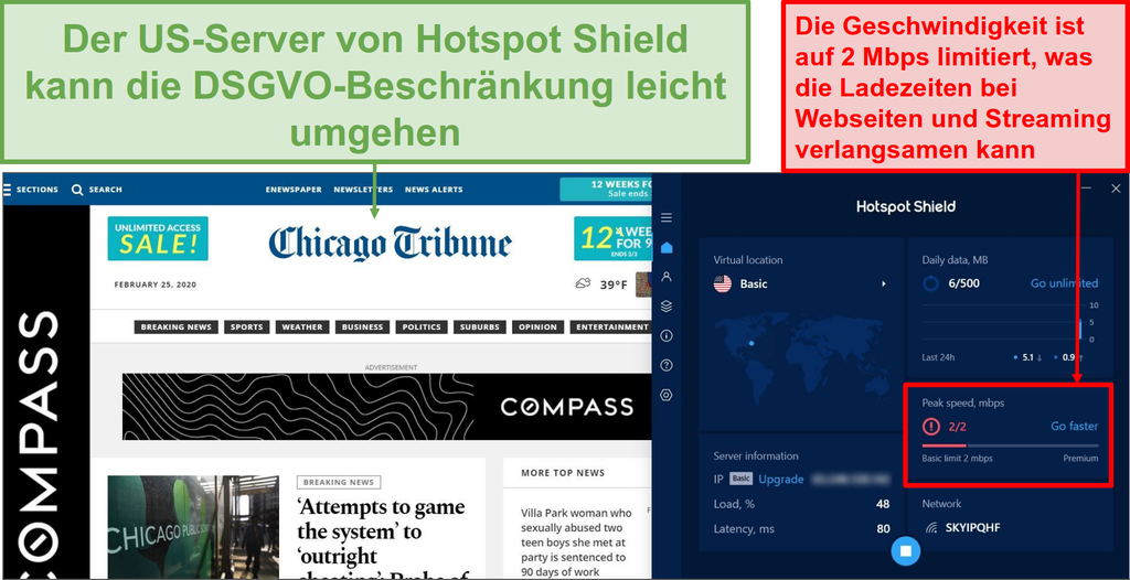 Screenshot der hotspot Shield kostenlosen Version entsperren Inhalte.