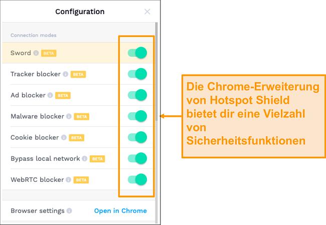 Screenshot der Sicherheitsfunktionen der Chrome-Erweiterung von HotSpot Shield.