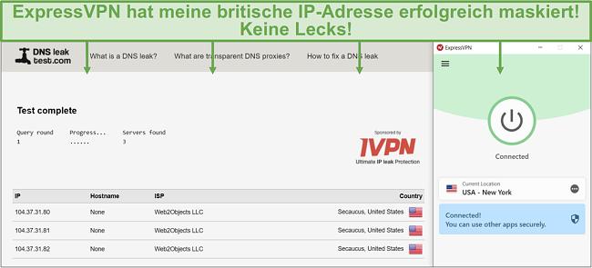 Screenshot des DNS-Lecktests, während er mit einem ExpressVPN-Server verbunden ist.