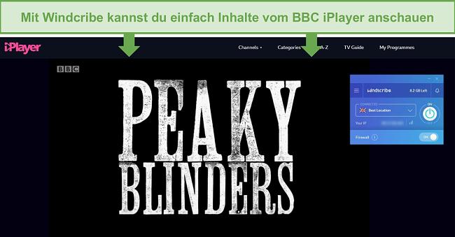 Screenshot der kostenlosen Version von Windscribe, mit der der BBC iPlayer entsperrt wird.