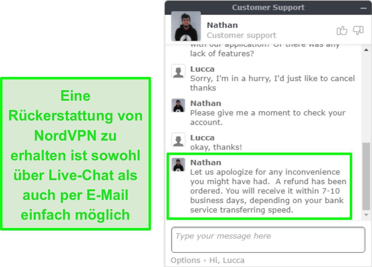 Screenshot der erfolgreichen Genehmigung der NordVPN-Rückerstattung per Live-Chat