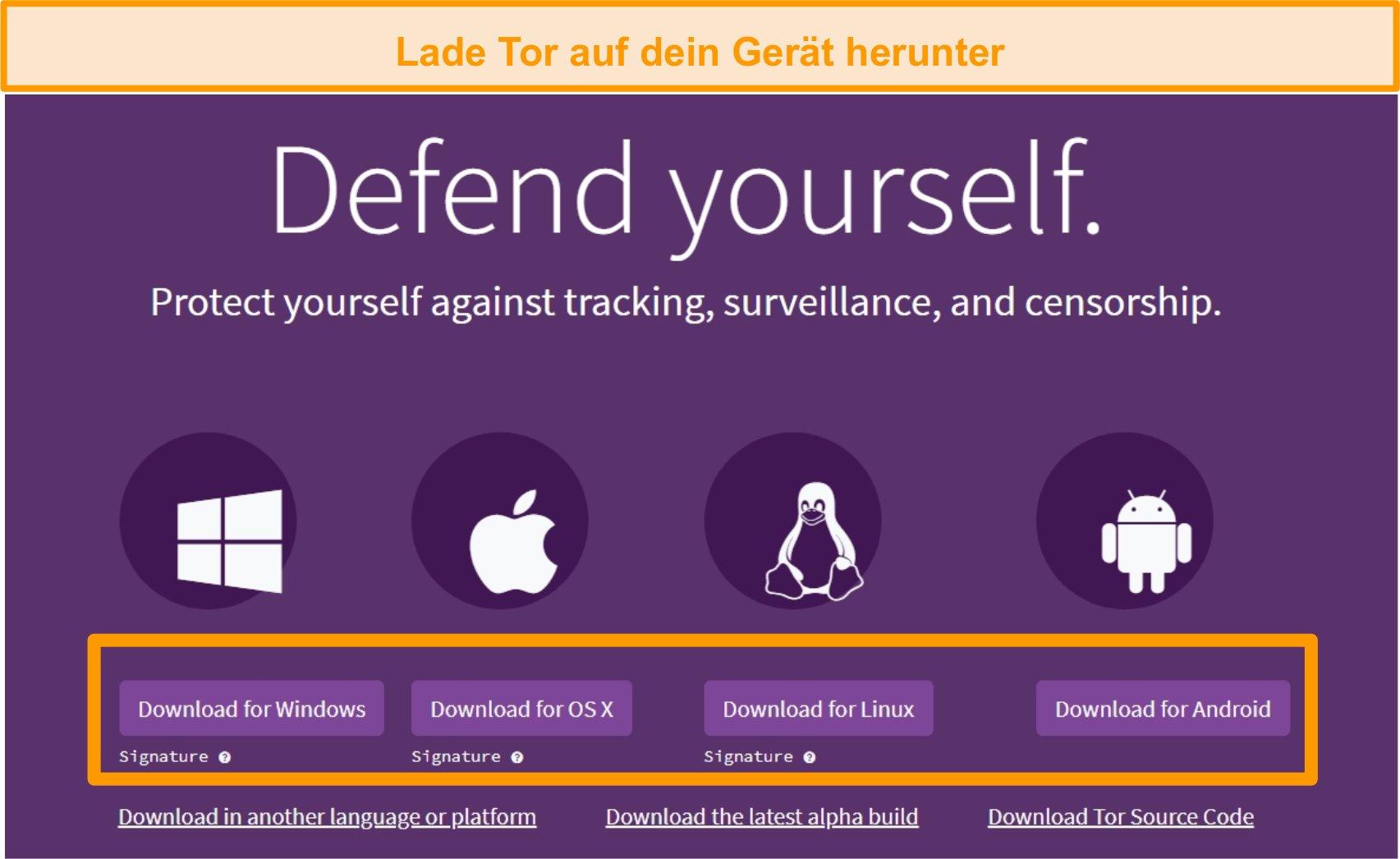 Screenshot der Download-Seitenübersicht des Tor-Projekts