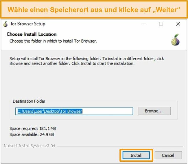 Screenshot der Installation des Tor-Browsers unter Windows 10