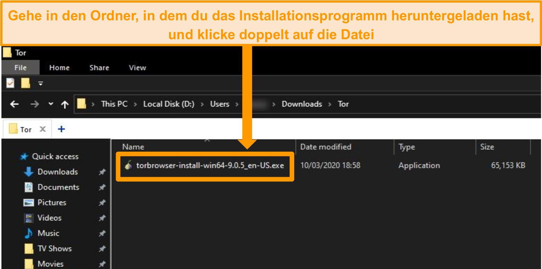 Screenshot des Tor-Installationsprogramms im Download-Ordner unter Windows 10
