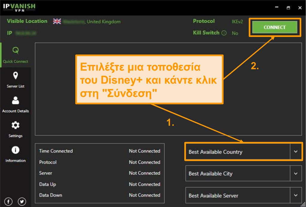 Απλά επιλέξτε μια χώρα Disney+ και κάντε κλικ στο κουμπί Σύνδεση με IPVanish.