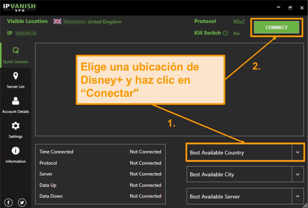Simplemente elige un país de Disney+ y haz clic en Conectar con IPVanish.